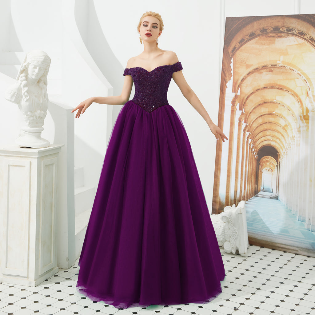 purple ball gown prom dress with off the shoulder neckline