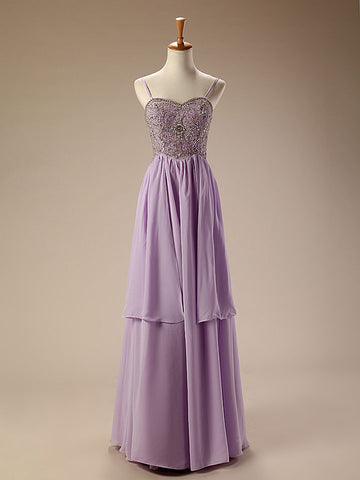 Purple Chiffon Long Formal Dress with Jeweled Top