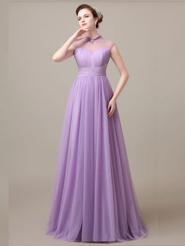 Purple Tulle Long Formal Evening Gown with Open Back | G8024