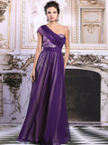 Purple Grecian One Shoulder Formal Prom Evening Dress | DQ831279