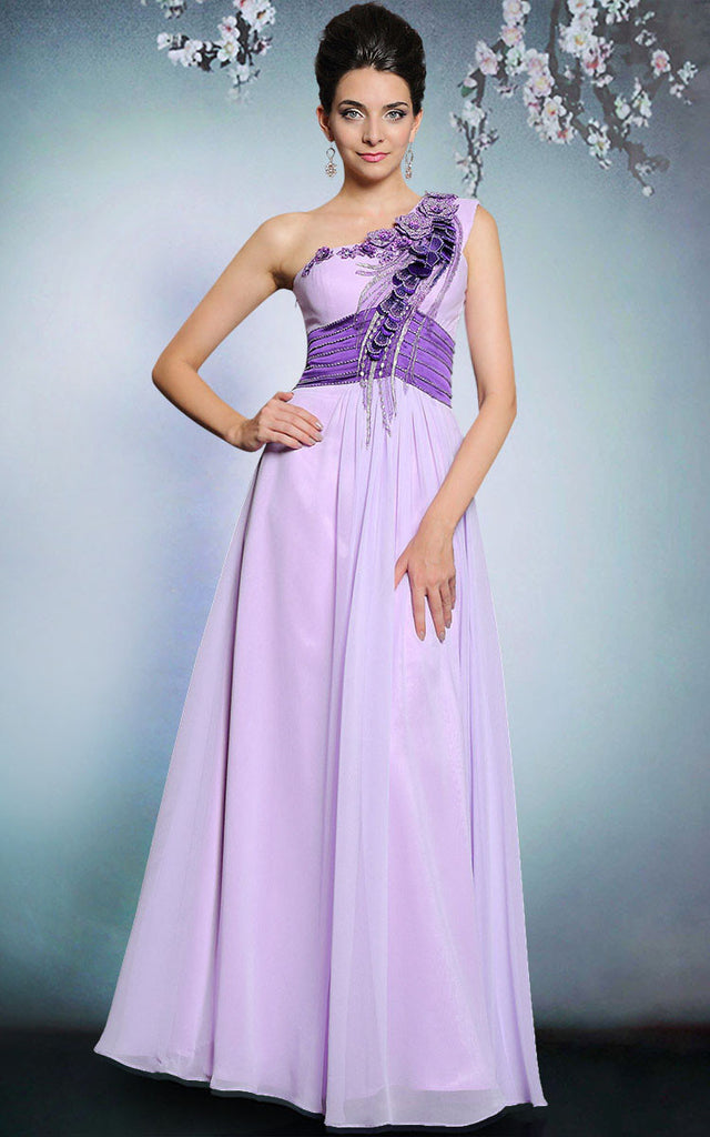 Purple Grecian One Shoulder Long Chiffon Formal Prom Evening Dress | DQ831248