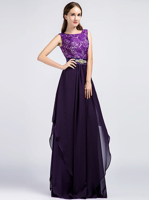 Long Purple Lace Formal Prom Evening Dress