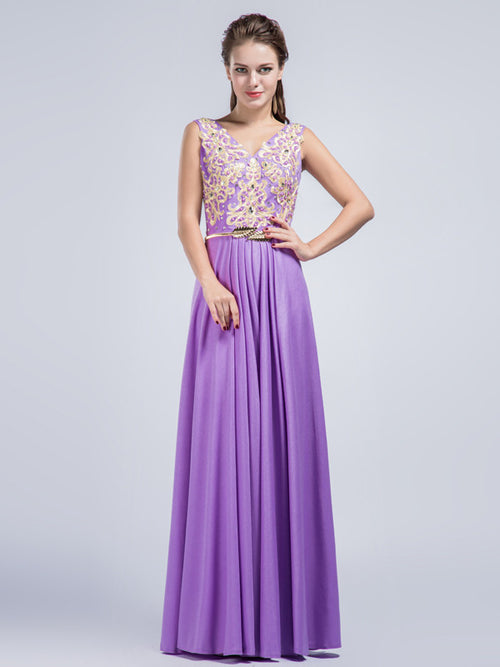 Purple V Neck Full Length Prom Formal Dress