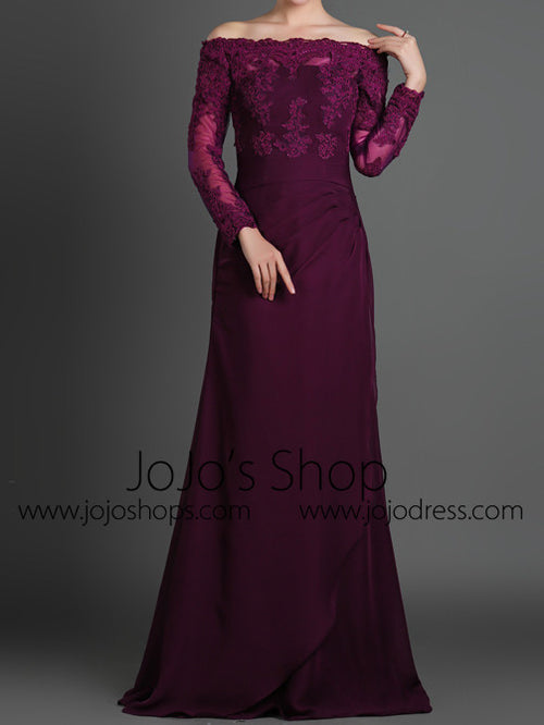 Purple Off Shoulder Lace Formal Evening Dress with Long Sleeves