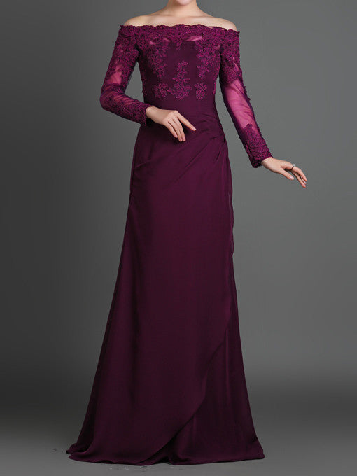 f9eebd49e476 Purple Off Shoulder Lace Formal Evening Dress with Long Sleeves ...