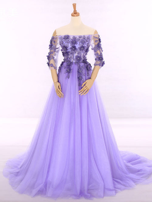 Lavender Off Shoulder Princess Formal Evening Gown