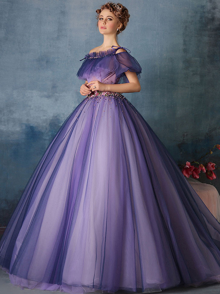 39f8274045e55 Purple Princess Ball Gown Quinceanera Formal Evening Dress | X1602 ...