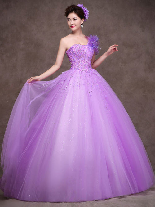 Purple One Shoulder Quinceanera Ball Gown Prom Dress Home Coming Dress Sweet Sixteen Dress X011
