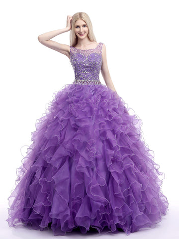 Purple Embroidered Quinceanera Ball Gown Prom Evening Dress