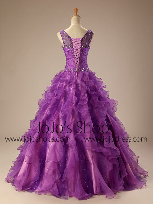 Purple Quinceanera Ball Gown Prom Dress with Ruffle Skirt