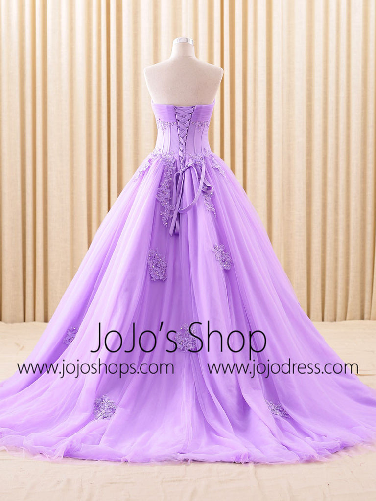 Purple Strapless Lace Ball Gown Wedding Dress | RS6805