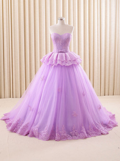 Strapless Purple Lace Ball Gown Formal Evening Gown