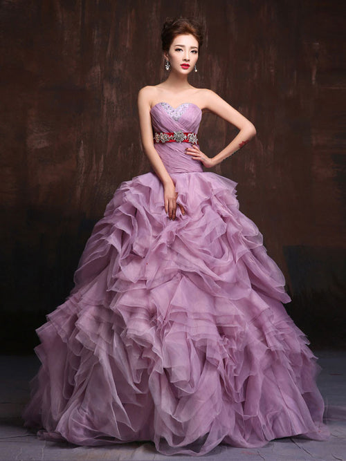 Strapless Purple Quenceanera Ball Gown Organza Ruffles Prom Dress Home Coming Dress Sweet Sixteen Dress X021