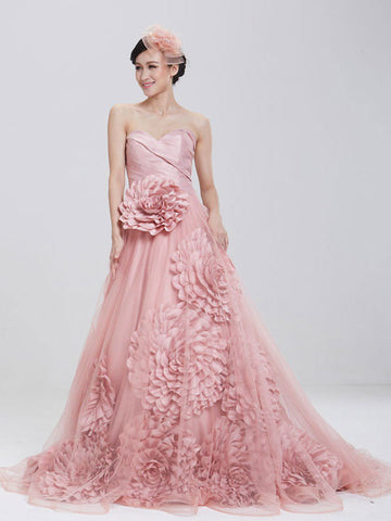 Strapless Dusty Pink Ball Gown Formal Evening Gown with Rosette