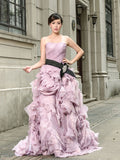 Purple Strapless Prom Performance Formal Evening Dress with Ruffle Skirt