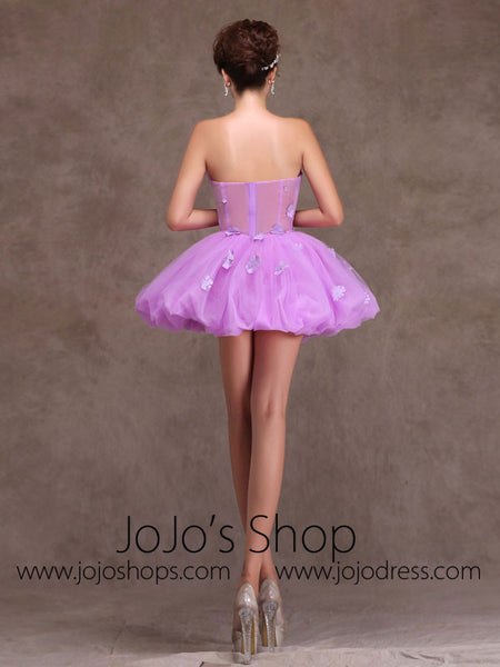 purple strapless tutu ballerina short prom dress party