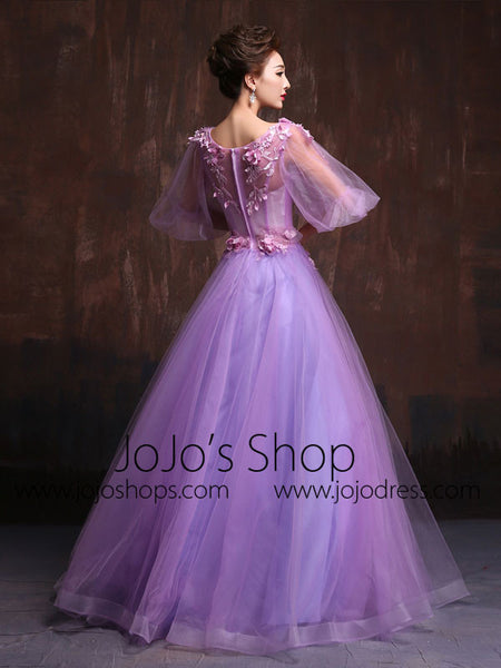 Victorian Style Purple Modest Quinceanera Ball Gown Prom