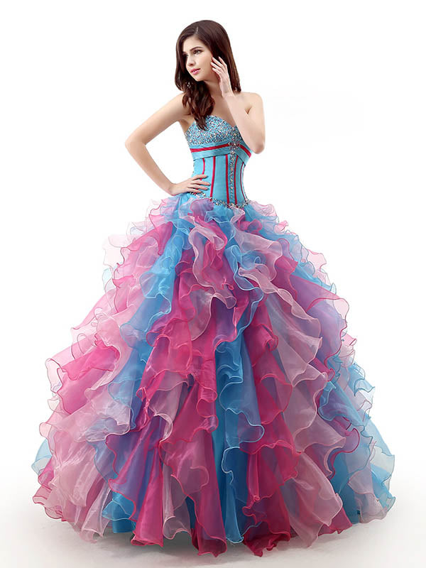 Strapless Rainbow Ruffles Quinceanera Ball Gown with Sweetheart Neckline