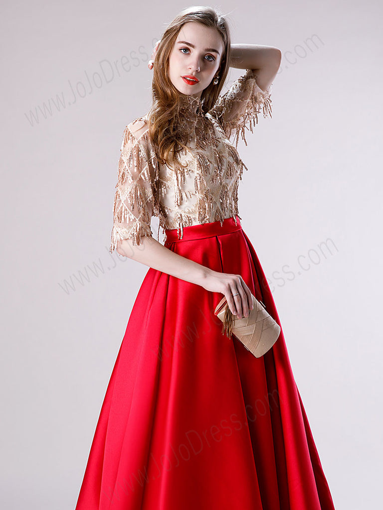 Red and Gold Ball Gown Prom Dress
