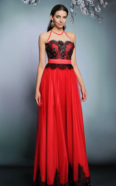Red and Black Halter Formal Prom Evening Dress | DQ831287