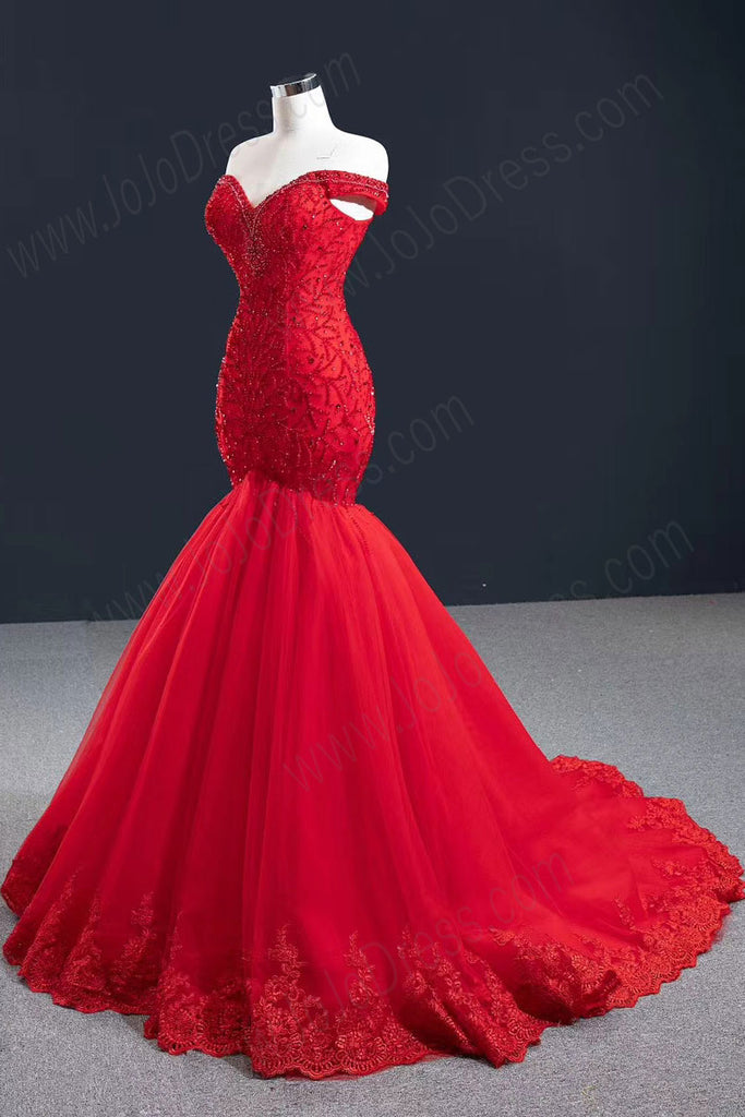 Stunning Red Mermaid Formal Prom Evening Dress RS2018