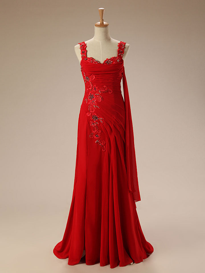 Red Grecian Long Formal Prom Evening Dress