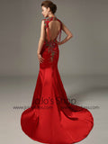 Red Fit and Flare Mermaid Satin Evening Dress with Open Back | LW2001