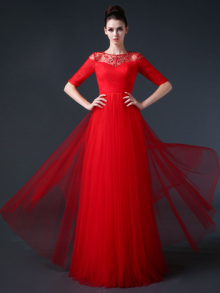 Red Modest Formal Prom Pageant Evening Dress with Sleeves CC3002