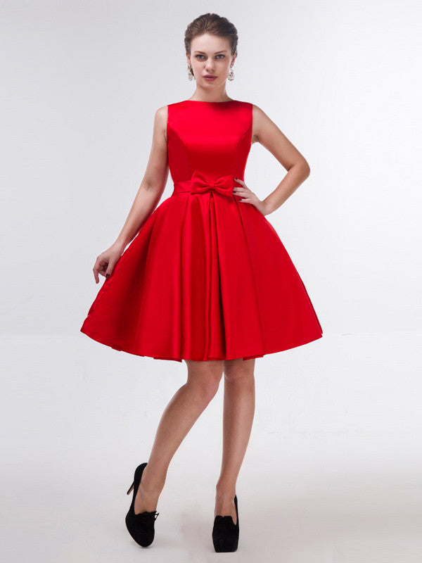 Modest Red Knee Length Formal Dress With Bow Jojo Shop