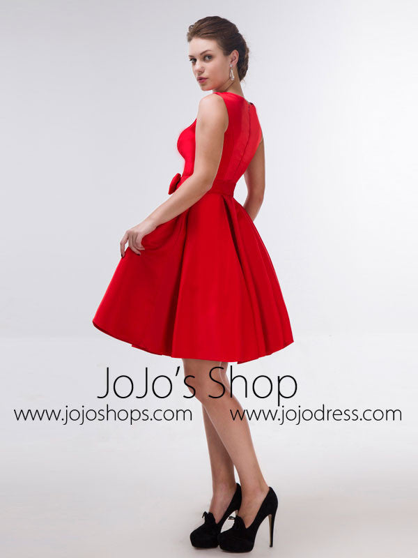 Modest Red Knee Length Formal Dress with Bow