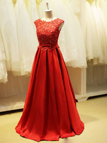 Red Open Back Lace Formal Evening Dress