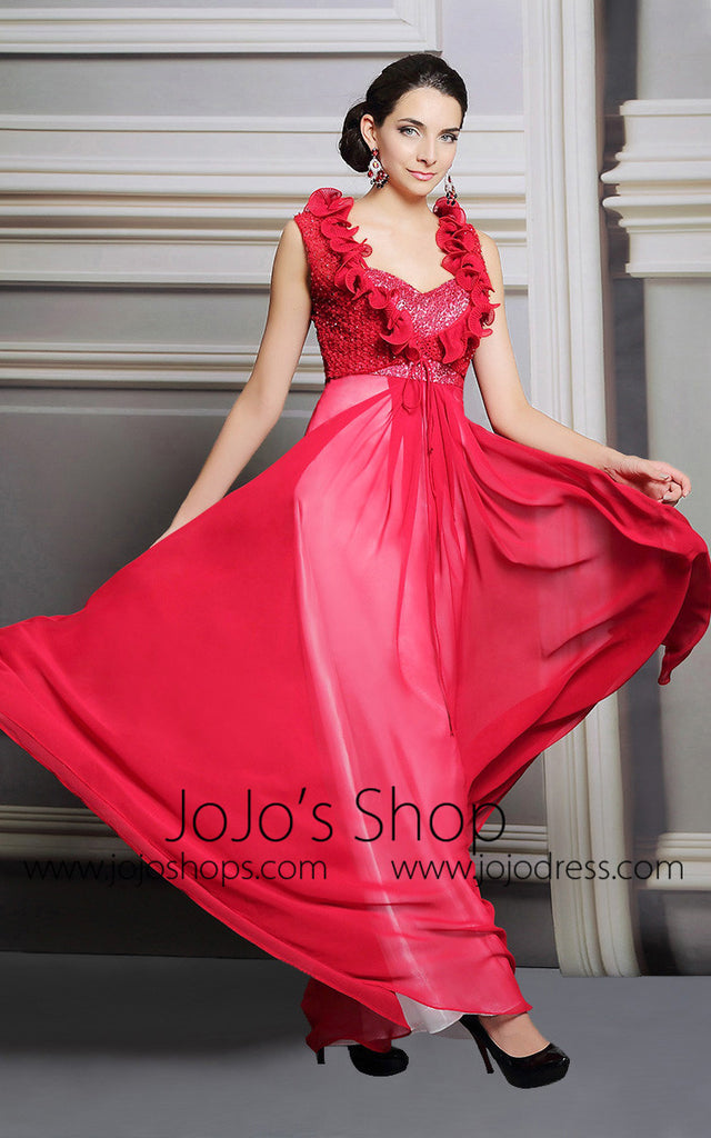 Red Ruffles Long Chiffon Formal Prom Evening Dress | DQ831268
