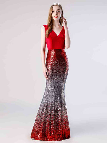 Red Shimmery Mermaid Fitted Formal Prom Dress