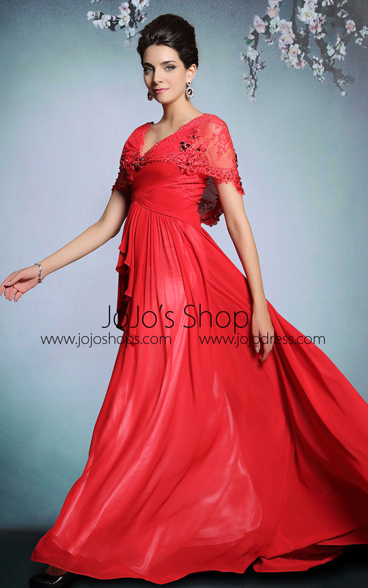 Red Short Sleeves Grecian Floor Length Prom Formal Evening Dress | DQ831291