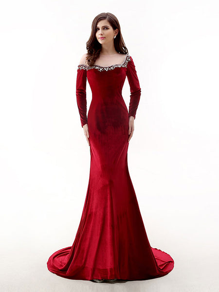 Red Velvet Long Sleeves Formal Prom Evening Dress