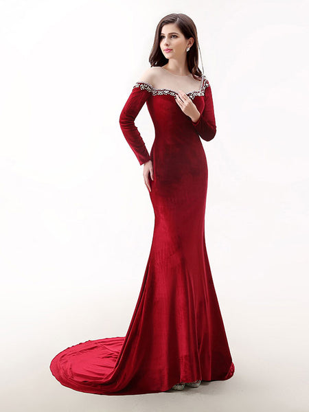 Red Velvet Long Sleeves Formal Prom Evening Dress Jojo Shop
