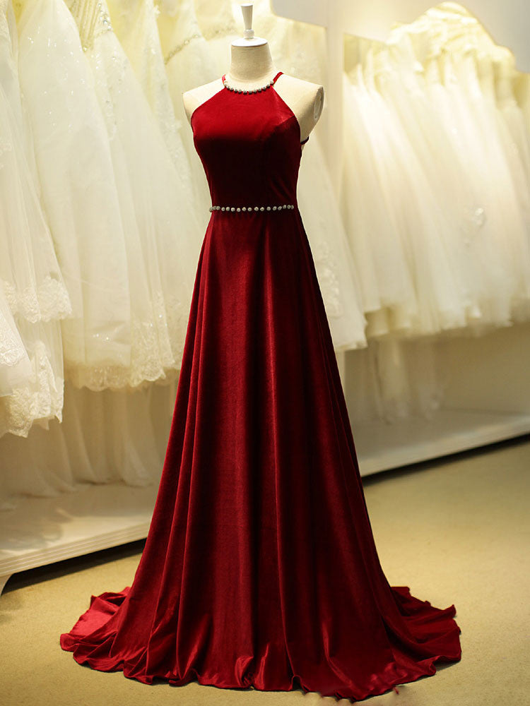 Red Velvet Long Formal Evening Dress