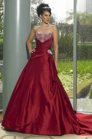 Scarlet Red Strapless Wedding Formal Evening Ball Gown