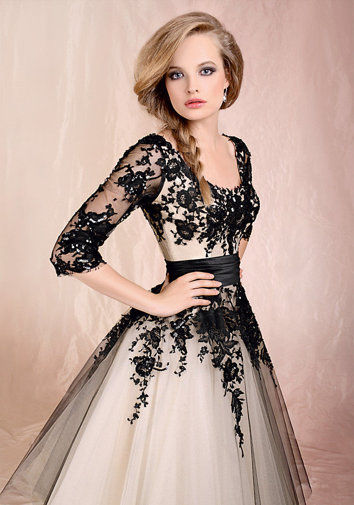 Retro 50s 60s Tea Length Black Lace Tulle Formal Dress DV1036