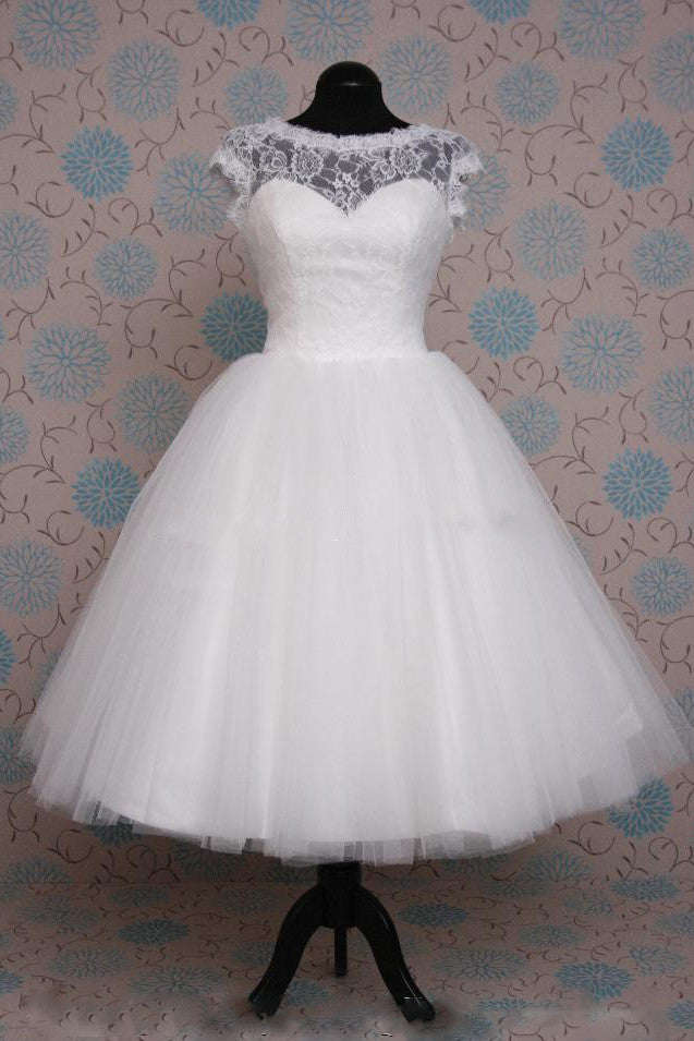 Retro 50s Tea Length Short Sleeve Tulle Lace Wedding Dress JoJo Shop