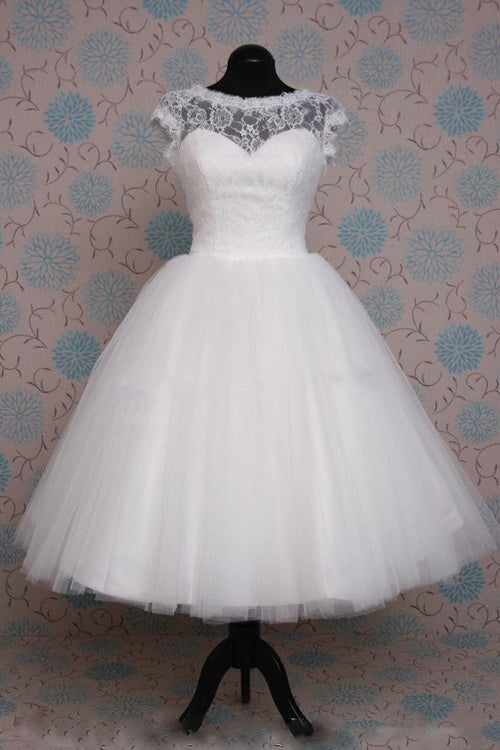 Retro 50s Tea Length Short Sleeve Tulle Lace Wedding Dress