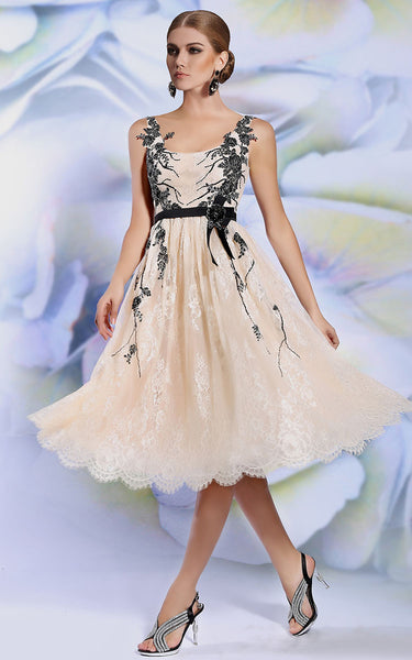 Retro Champagne Knee Length Lace Prom Formal Evening Dress | DQ86138