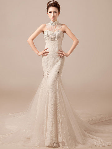 Retro Halter Fit and Flare Wedding Dress