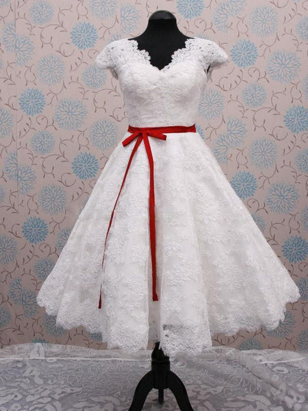 Retro 50s Wedding Dress Short Tea Length Wedding Dress