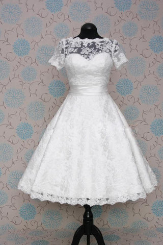 Retro 50s 60s Short Tea Length Modest Short Sleeves Wedding Dress with Sash Tie
