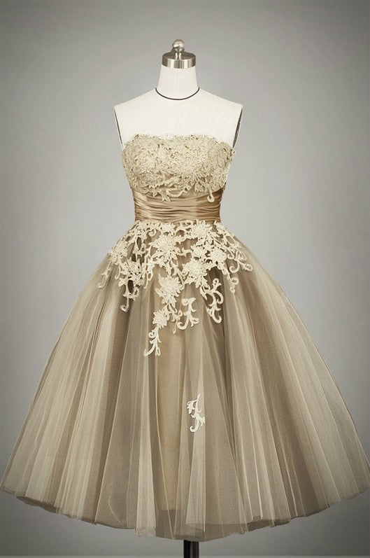 Retro 50s Tea Length Strapless Lace Tulle Formal Prom Dress ...