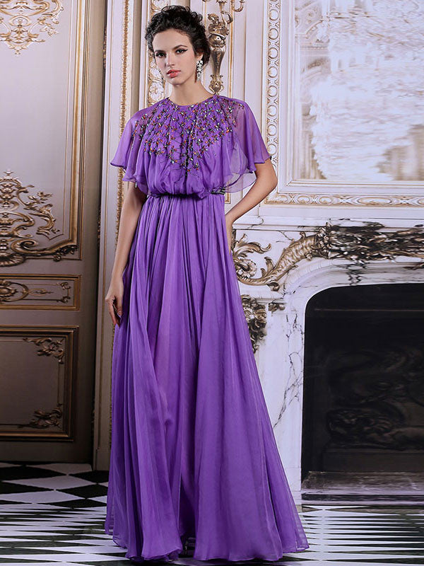 Retro Modest Butterfly Sleeves Long Formal Prom Pageant Dress | DQ831269
