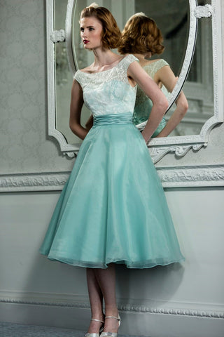 Retro Vintage Style Lace Organza Tea Length Wedding Prom Formal Dress