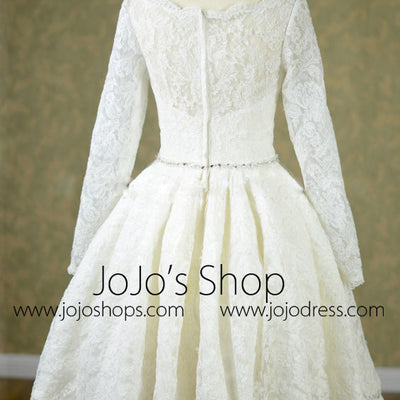 Retro Short Tea Length Wedding Dress with Long Sleeves