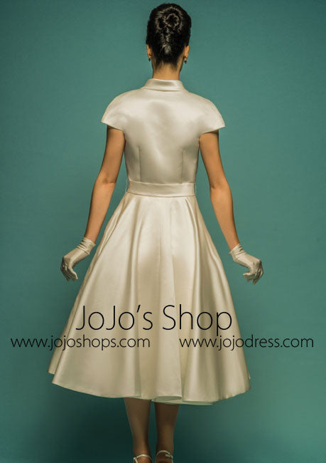 well known factory price good texture Vintage Retro Tea Length Wedding Dress with Short Sleeves